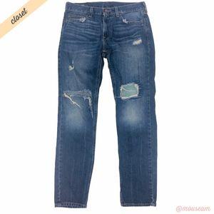 [Hollister] Men's Dark Wash Destroyed Skinny Jeans